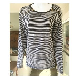 Michael Kors Black/Gray Striped Top SZ L